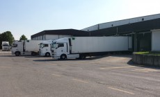 Lorries waiting to be loaded at Sam Logistic